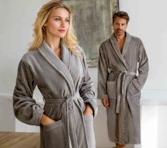 VELOUR BATHROBE FEELING WITH SHAWL COLLAR Feeling-L 30S.VO.116